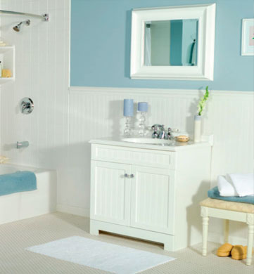 Sweetwater home services affordable bath remodeling for Water resistant wainscoting for bathroom